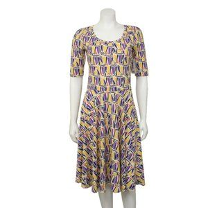 NWT LuLaRoe Nicole Yellow Print Fit & Flare Dress